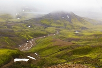 We left an icy tundra and went down the mountain and landed into a beautiful lush green valley on our way to Alftavatn Iceland