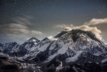 We slept at  feet acclimatizing for an Everest ascent when I took this frame as part of an all-night time-lapse - Mount Everest from the summit ridge of Lobuche peak Nepal  Photo by Renan Ozturk