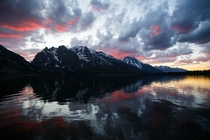 We stuck out a few storms and were rewarded with this incredible sunset over the Tetons