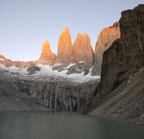 We waited in sleeping bags all morning for these shots near Torres Torres del Paine National Park Chile