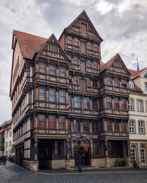 Wedekindhaus a half-timbered renaissance style house with carved oak facade originally built in  by the merchant Hans Storre then later completely destroyed during a WWII air raid before being rebuilt in the s Hildesheim Lower Saxony Germany