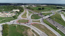 weird combination of diverging diamond interchange and roundabout near Kansas City MO