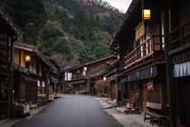 Well preserved Edo period houses at post town Tsumago in Kiso Valley Japan