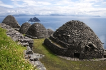 Well-preserved stone structures built by early Christian monks overlook the Atlantic Ocean on Skellig Michael in County Kerry Ireland Carl Bruemmer