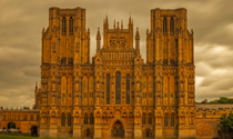 Wells Cathedral built in  was the first cathedral in England to be built from its foundation in Gothic style