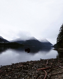 Went dirtbiking today and was rewarded with this view Alouette Lake British Columbia