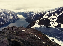 Went hiking to Besseggen Norway June  This is a classic view