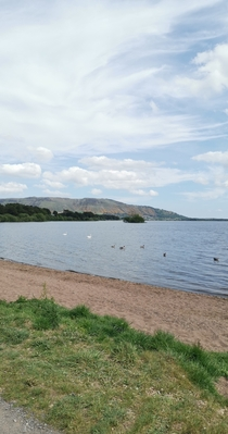 West Lomond from the banks of Loch Leven Scotland OC x