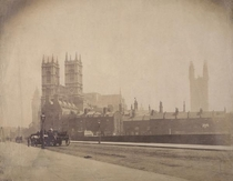 Westminster Abbey and the Palace of Westminster under construction London c