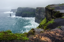 Wet and windy Cliffs of Moher - Co Clare Ireland