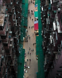 Wet market in a residential area in Hong Kong