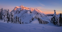 Weve all seen lots of photos of Mt Hood on here recently but anyone whos been know that the North Cascades are even more beautiful Heres sunset on Mt Shuksan from Shuksan Arm
