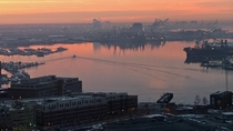 Wharves and dockyards of Baltimore MD at sunrise Feb