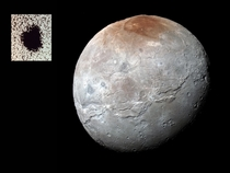 What a difference  years makes A color image of Charon from data gathered by the New Horizons spacecraft in  shows a range of diverse surface features significantly transforming our view of a moon discovered in  as a bump on Pluto in a set of grainy teles