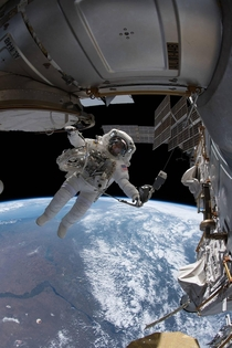 What song would you listen during a spacewalk  Mine  Good vibrations - Pic by NASA