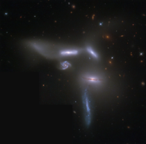 What will survive this battle of the galaxies Known as Seyferts Sextet this intriguing group of galaxies lies in the head portion of the split constellation of the Snake