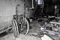 Wheelchair found in the basement of an abandoned home in Hamilton Everything was still here including the food and preserves even though looks like its been empty for  years given the posters of Shawn Cassidy in one of the bedrooms