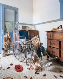 Wheelchair I found in the bathroom of an abandoned house in rural PA Curious as to what happened here