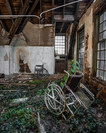 Wheelchairs left behind in an abandoned asylum  Instagram hallchris