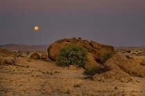 When Moonlight meets Daylight Taken just before sunrise by Anne Berger at Namibia