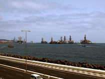 When oil is cheap  oil rigs parked at the local seaport Gran Canaria