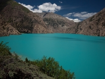 When we crossed the northwest of Nepal we rested here at Phoksundo Lake for a day This is the actual color of the lake