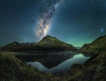 Where Earthporn meets Spaceporn The Milky Way core is making its way back for winter Lucky enough to live literally five minutes away from this spot Lake Kirkpatrick Queenstown New Zealand  south_of_home