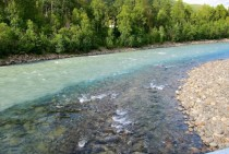Where gin clear water meets greyish glacial water Beiar river Norway