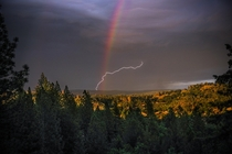 Where Lightning and A Rainbow Collide--Taken in the Canyon of the North Fork of the American River in Colfax California