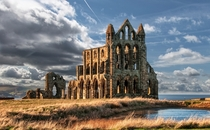 Whitby Abbey a Ruined Benedictine abbey overlooking the North Sea in England  by Mark Taylor Flynn