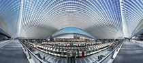 Wide angle panoramic view of the Lige-Guillemins train station Belgium Designed by Santiago Calatrava  photo by Andreas Paehge x-post rBelgiumPics