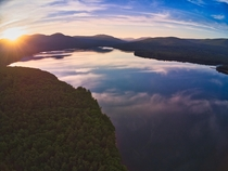Wide angle shot of the Catskill mountains New York