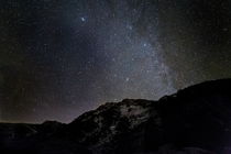 Wide field Milky Way above Emerald Bay Lake Tahoe California You can see a meteor on the left side of the image Taken on
