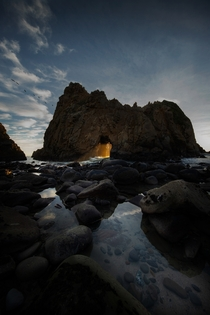 Wide shot of the Pfeiffer Beach Keyhole Big Sur CA
