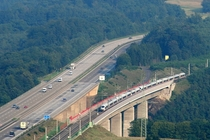 Wiedtalbrcke in Germany - the photo shows the Autobahn  and the KlnFrankfurt high-speed rail line following it  Picture by Sebastian Terfloth
