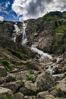 Wielk Siklawa waterfall in Polands high Tatras mountains
