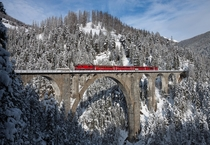 Wiesener Viaduct in the snow Switzerland