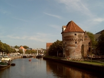 Wijndragerstoren once part of the city wall of Zwolle Netherlands today houses a bar-restaurant