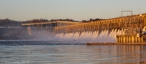 Wilson Dam with spillways open Florence Alabama