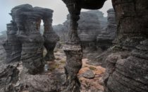 Wind-carved rock formations covers the tabletop plateau of Mount Roraima x