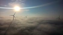 Wind farm in Nebraska on a foggy morning
