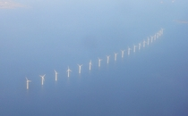 Wind turbines at the Middelgrunden wind farm off Copenhagen Denmark  Photo by Plenz