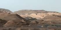 Wind-weathered mountains on Mars from Curiosity in