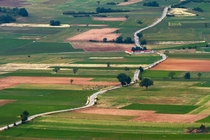 Winding road in Norcia Italy