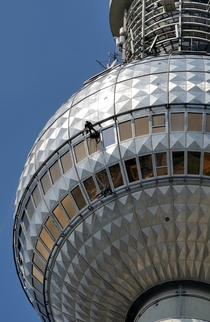 Window cleaning on the TV Tower Berlin Germany