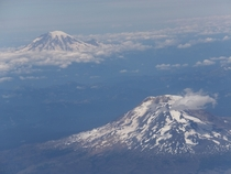 Window seat view of Mt Rainier and Mt Adams
