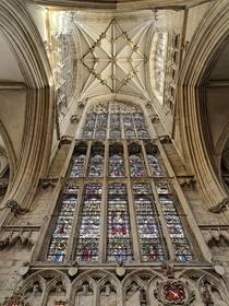 Windows and intricate ceiling of York Minster