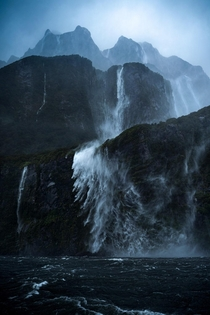 Windswept waterfalls Milford Sound New Zealand OC x williampatino_photography