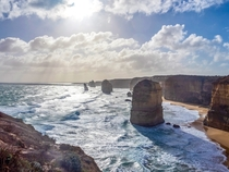 Windy but beautiful day at  Apostles Great Ocean Road Victoria Australia