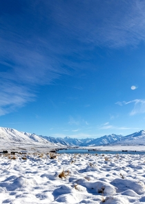 Winter at Lake Clearwater Canterbury New Zealand  OC